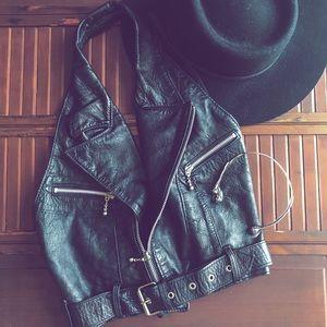 VINTAGE Black Leather Rocker Biker Halter Vest